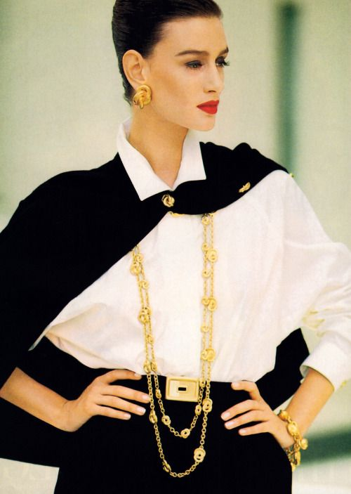Anne Klein, American Vogue, February 1989. Photograph by Arthur Elgort.