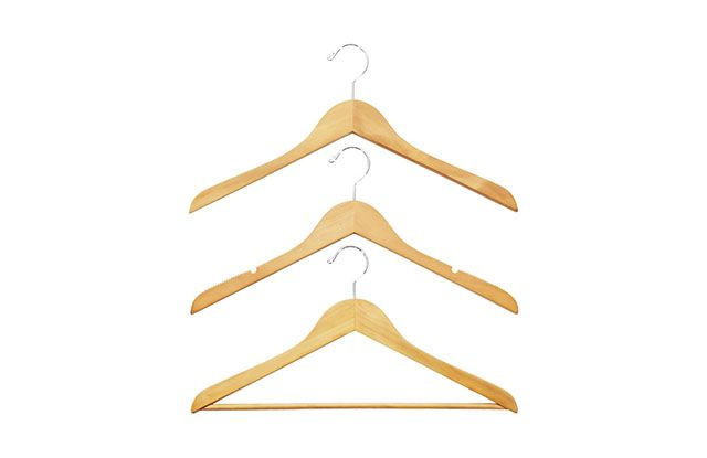 The best hanger you can buy is The Container Store's Basic Natural Wood Hangers. They're available in three styles that will cover almost every piece of clo