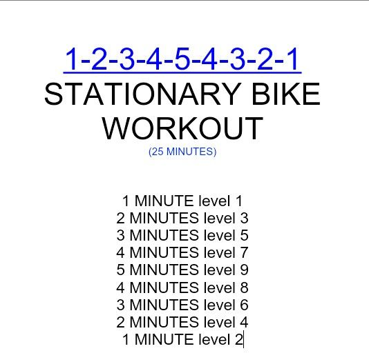 1-2-3-4-5-4-3-2-1 stationary bike workout [TOTAL MILEAGE: 5.42 mi]