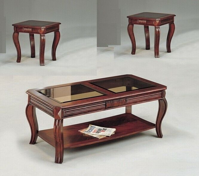Acme 06152 3 Pc Overture Cherry Finish Wood Smokey Glass Coffee And End Table Set End Table Sets Coffee And End Tables End Tables
