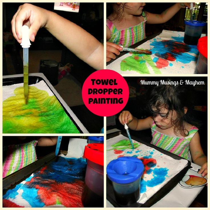 Toddler Paint Droppers & Paper Towel...great fun for fine motor skills...very little mess as paper towel soaks up the paint!