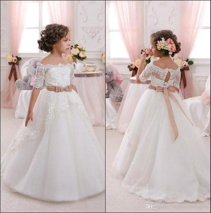 Cheap In Stock White Ivory Flower Girl Dresses Off Shoulder Lace Appliqued With Sash Girl Pageant Party Dresses First Communion Gowns Cps293 Flower Dress Girls Dress Shoes From Enjoyweddinglife, $87.44| Dhgate.Com