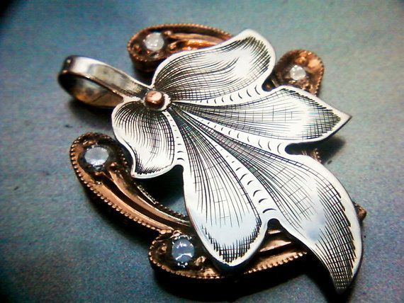 engraved sterling silver and copper pendant by oiseaumetalarts, $175.00