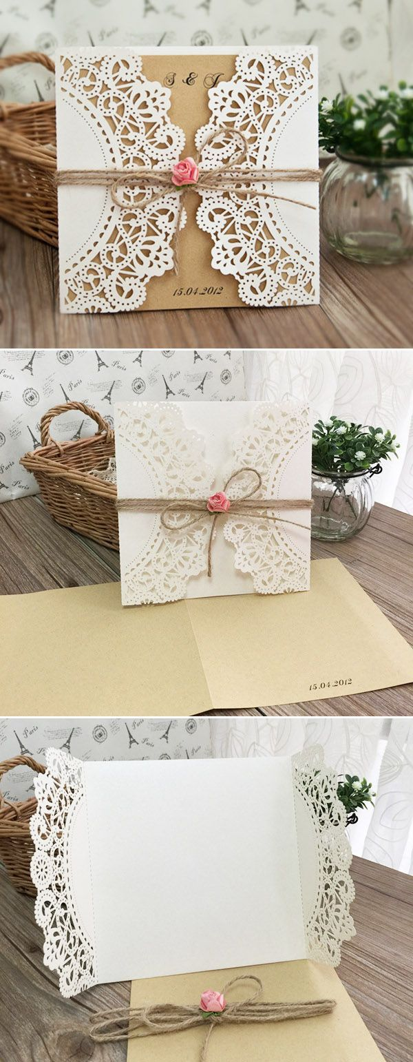 rustic laser cut pocket wedding invitations with burlap and pink flowers
