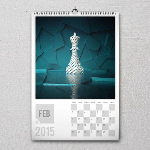 February 2015 #PremiumChessArtCalender #PremiumChess #chess #art #calender #kalender #LikeableDesign #illustration #3Dartwork #3Ddesign #chesspieces #chessart
