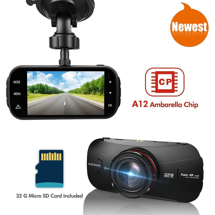 Car Dash DVR - Elecwave EW-D300 1440P 2K Ultra Full HD Car Dash Camera 170 Degree with 32GB Micro SD Card A12 Chips with GPS, Black. 170 Degrees Real-time Recording: Comes with Ambarella A12A55 chip and 170-degree wide viewing angle, it clearly records images on the way, never miss a moment. Smart and Convenient Monitoring: Automatic motion / crash / vibration detection and recording with G-sensor, monitoring while parking as locked event videos. Brilliant Presence with HDR Mode: 3.0…