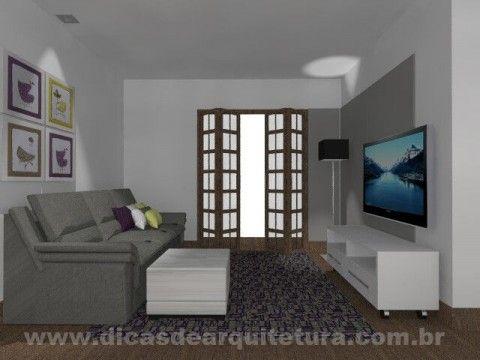 Sala com branco, cinza e madeira. http://dicasdearquitetura.com.br/como-misturar-tons-de-madeira-com-branco-e-cinza/
