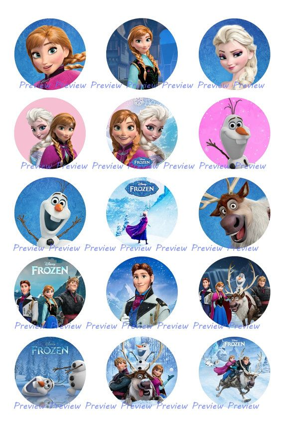 Frozen Disney Images - Elsa, Anna, Olaf - Princess Bottle Cap Images - Hair Bow Center - Birthday Party - Hairbow Printable Instant Download on Etsy, $1.25