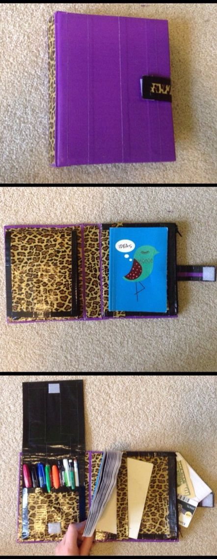 Duct tape binder with pencil case, small journal holder, and a zipper pocket which holds; paper, money, cards, etc.   DuctTapeLover