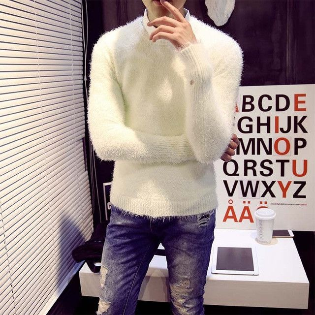 Mens Christmas Sweater Fall 2017 New Mohair Pure Color Men Warm Sweater Cotton Mens Sweaters Slim Cashmere Sweater Men
