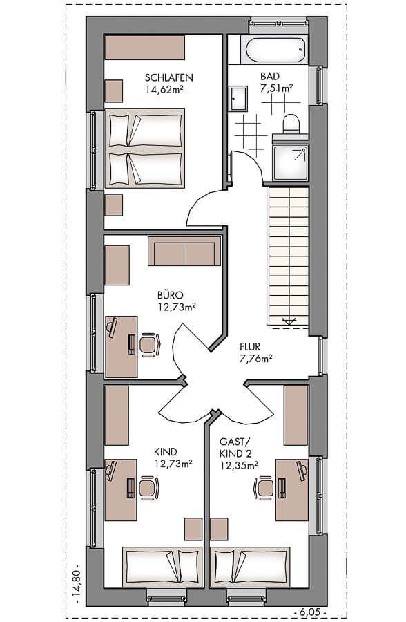 Einfamilienhaus Grundriss Schmal Obergeschoss Mit Satteldach