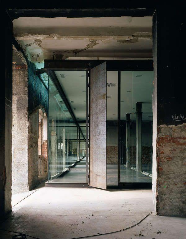 Glass with metal door