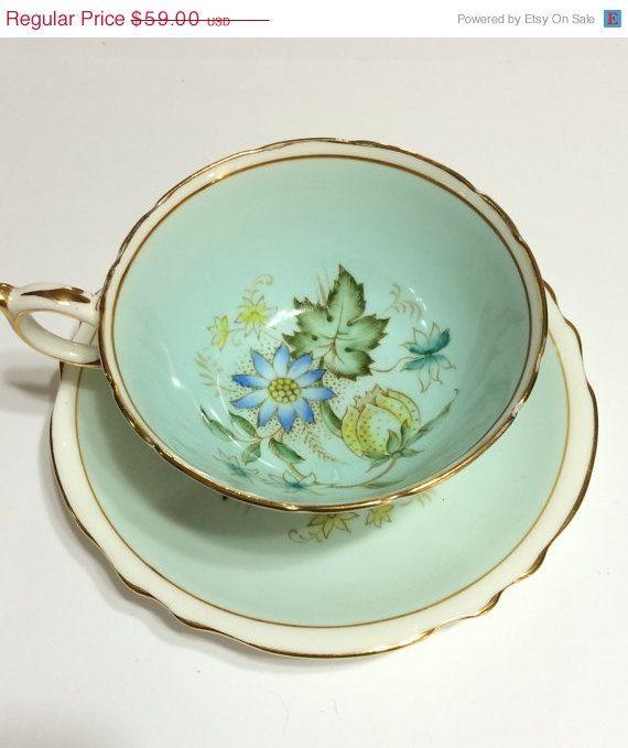 ON SALE Antique Paragon Tea Cup Powder Blue by GracesVintageGarden