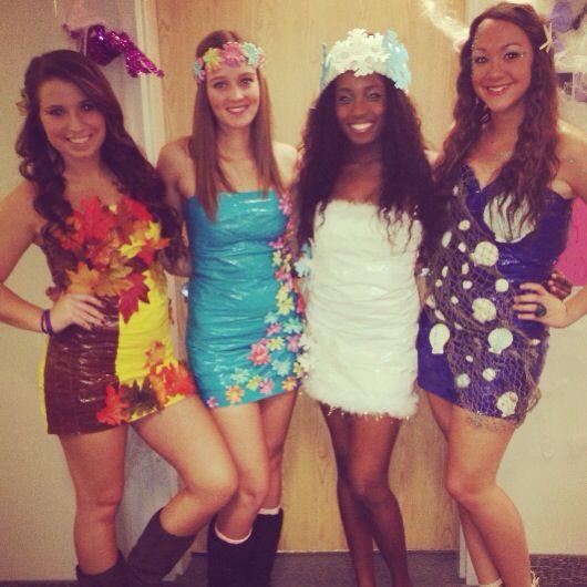 DIY Four Seasons duct tape halloween costumes