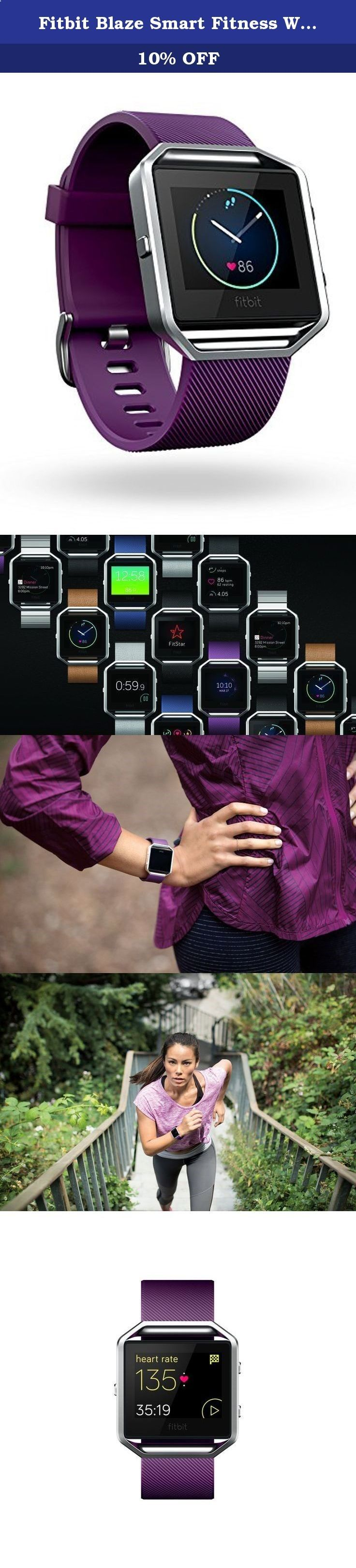 Fitbit Blaze Smart Fitness Watch, Plum, Silver, Large. Get fit in style with Fitbit Blaze—a smart fitness watch that helps you maximize every workout and every day. With advanced technology in a versatile design, this revolutionary device is built to track your workouts, monitor your performance stats, and gauge your progress. PurePulse continuous heart rate and multi-sport modes enhance every exercise, while next-generation features like Connected GPS and FitStar workouts on your wris...