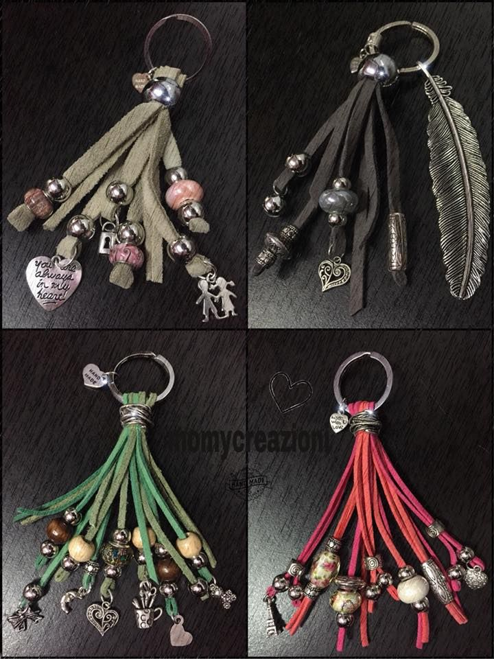 bag charms key charms pelle scamosciata
