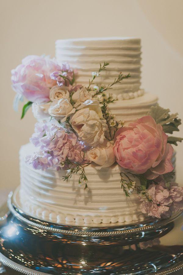 floral wedding #cake, photo by Day 7 Photography http://ruffledblog.com/elegant-rancho-mirando-wedding #cakes #weddingcake