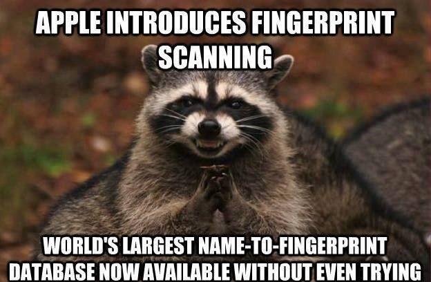 Apple introduces fingerprint scanning...world's largest NAME-TO-FINGERPRINT Database now available without even trying!