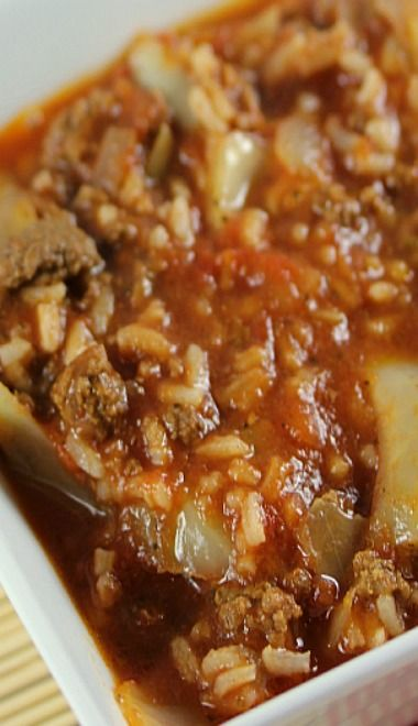 Cabbage Roll Soup...Slow Cooker Recipe •4 cups cabbage, roughly chopped •1 lb. ground beef •1 tsp Worcestershire sauce •1 tsp salt •1 tsp paprika •1 onion, chopped •3 cloves garlic, minced •½ cup water •1 tsp oregano •½ tsp basil •680 mL can tomato sauce (or about 3 cups) •796 mL can diced tomatoes (or about 4 cups) •1 cup rice, uncooked