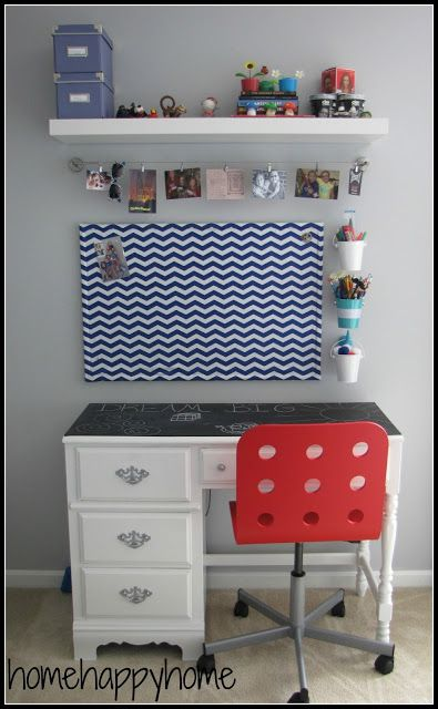 Not your typical teen girl bedroom art station with fabric covered cork board