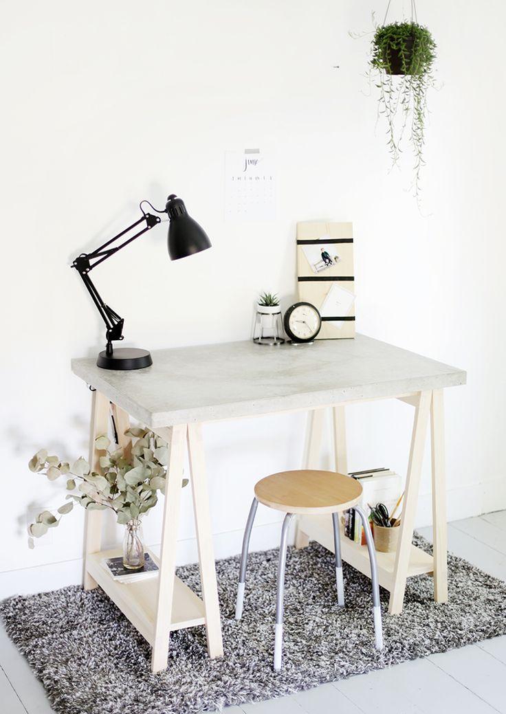 DIY Concrete Desktop with Wooden Legs