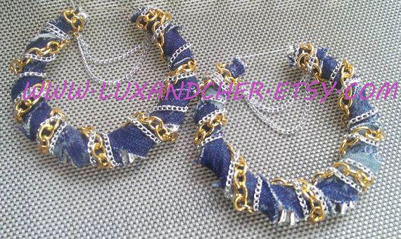 Джинсовые серьги, серьги обруча, серьги, себе Золотые серьги, цепи серьги, обручи Большой, Бамбуковые серьги, Джинсовая, золото, серебро,