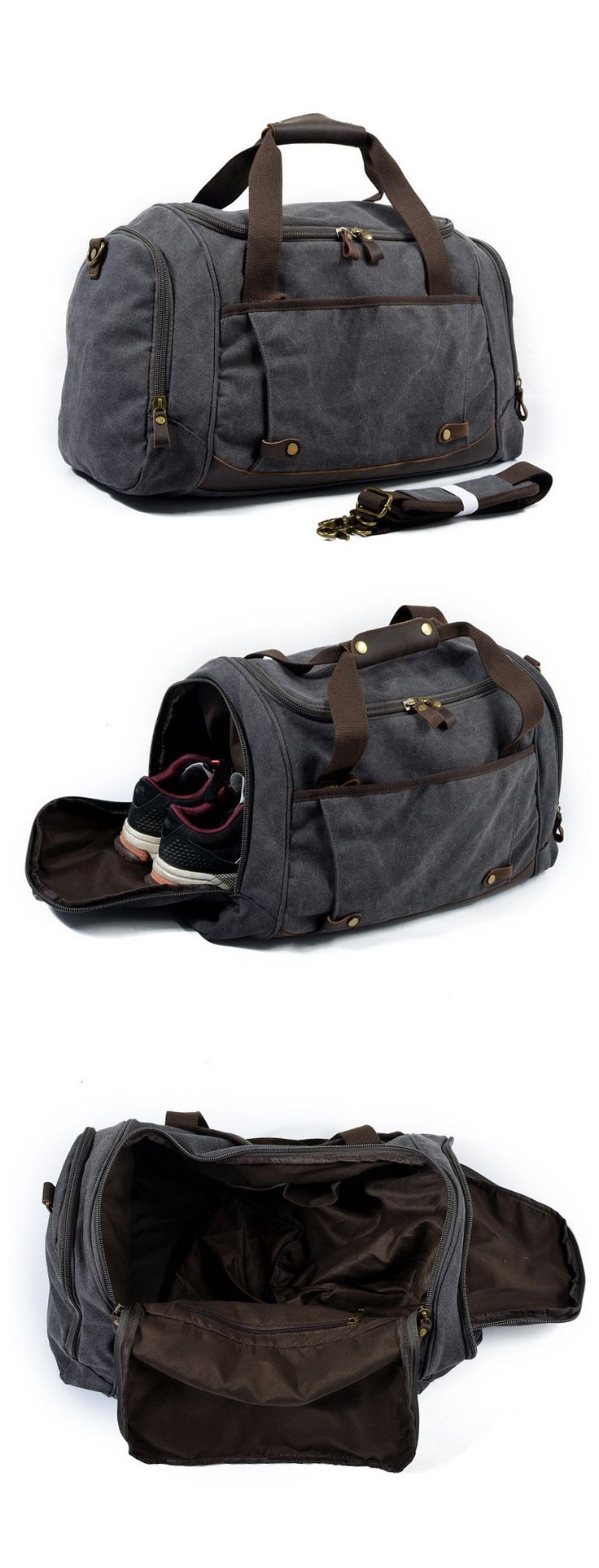 Handmade Waxed Canvas Travel Bag Duffle Bag Gym Bag