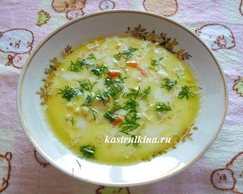 Нежный капустный суп с плавленным сыром, рецепт для микроволновки
