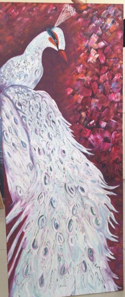 Tavus kuşu, yağlı boya tablo