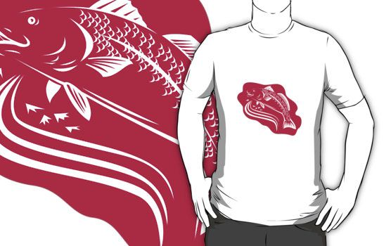 red drum fish, spottail bass, bass, fish, retro, woodcut
