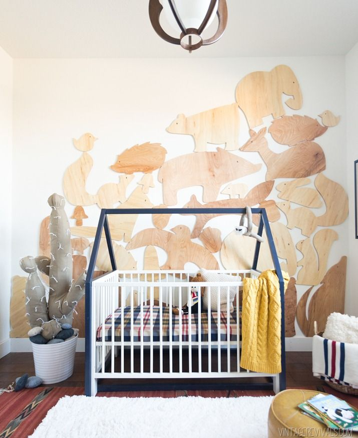 Baby Boy Nursery-Giant Stacked Animal Block Wall Treatment. I think this idea could be cool stenciled on, too.