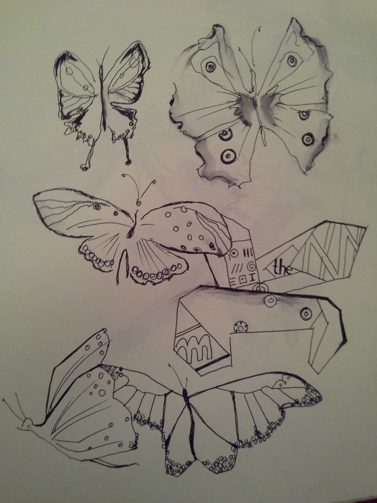 Butterflies, ink
