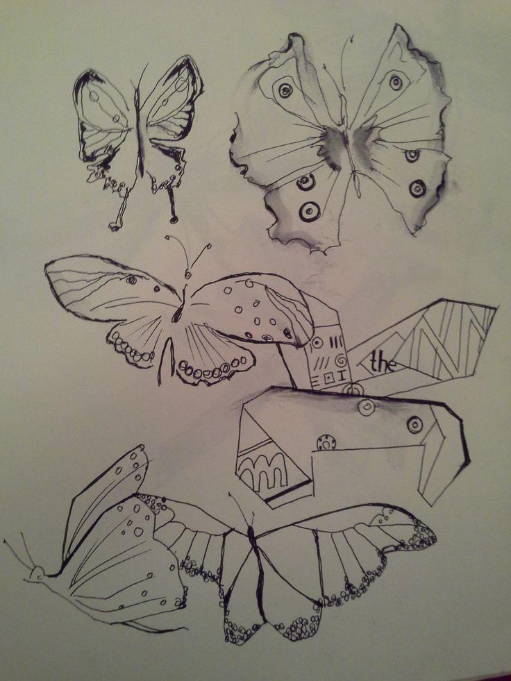 Butterflies, ink