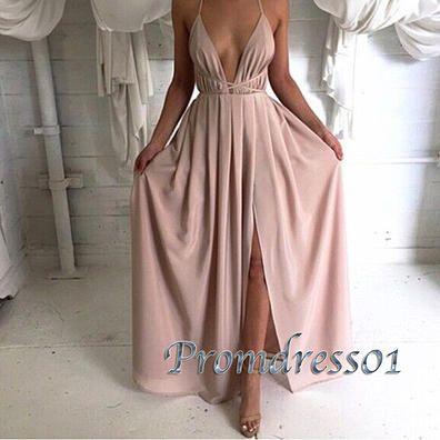 Fashion prom dress with straps, side slit sexy chiffon senior prom dress www.promdress01.c... #coniefox #2016prom