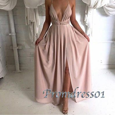 Fashion prom dress with straps, side slit sexy chiffon senior prom dress www.promdress01.c... #coniefox #2016prom