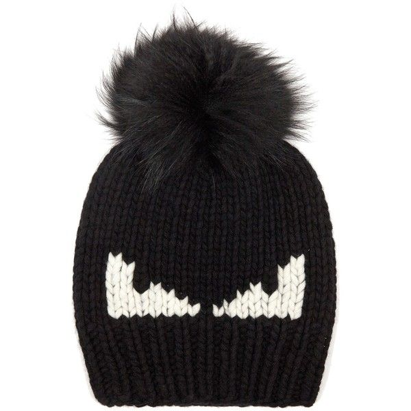 Fendi Bag Bugs fur-pompom wool hat (1.120 BRL) ❤ liked on Polyvore featuring men's fashion, men's accessories, men's hats, black, mens pom pom hat, mens fur hats and mens wool hats