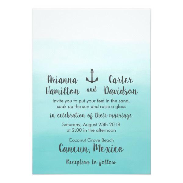 Ombre Beach Destination Ocean Anchor Wedding Card Customizable Invitations #beach #summer #wedding #invitation