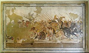 The Battle of Issus occurred in southern Anatolia, in November 333 BC between the Hellenic League led by Alexander the Great and the Achaemenid Persia, led by Darius III, in the second great battle of Alexander's conquest of Asia. The invading Macedonian troops defeated Persia-Alexander battling Darius at the Battle of Issus (Naples National Archaeological Museum)