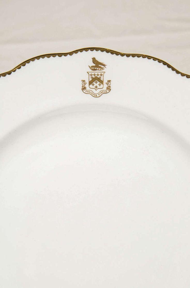 best  modern dinner plates ideas only on pinterest  modern  - set of  white and gold armorial dinner dishes with the motto toujoursfidele modern dinner platesdinner