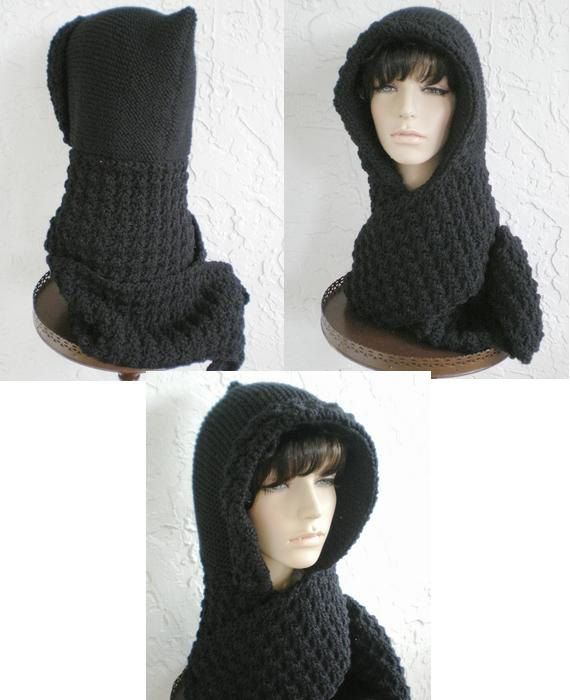 Knitting Pattern For Hat With Scarf Attached : hand knit hood scarf hat crochet scarf scoodie womens accessories winter hat ...