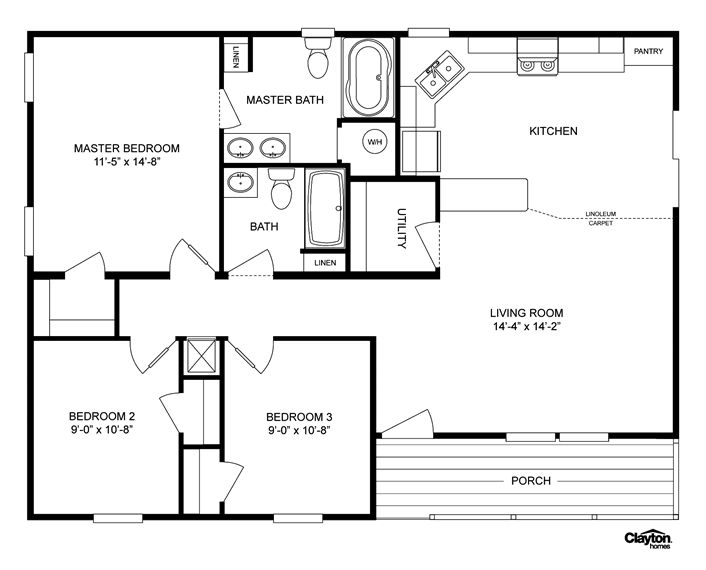 Floor plan for the lakeview lvw32403aclayton homes home for Mobile home plan