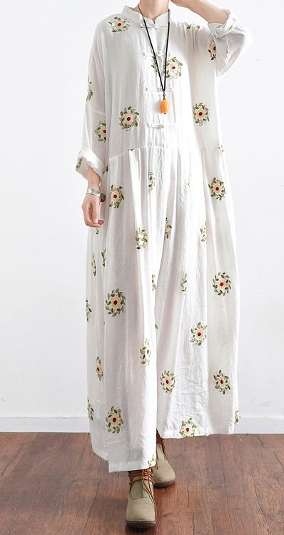 new white prints cotton maxi dress plus size casual linen dresses long sleeve gowns