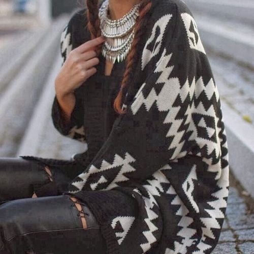 Aztec necklace and cardigans