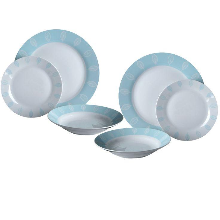 Beech 24 Piece Dinner Set Blue & White Plates Bowls New Porcelain Tableware