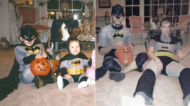 Double trouble Batman!  Check Out These Hilariously Recreated Childhood Photos • BoredBug