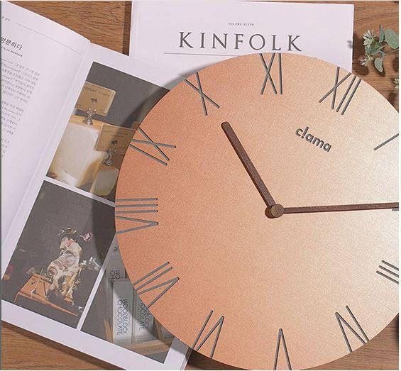 minimal clockmodern clockwooden minimal decor clockwood clockbronze copper color woodround clockliving room decor clock
