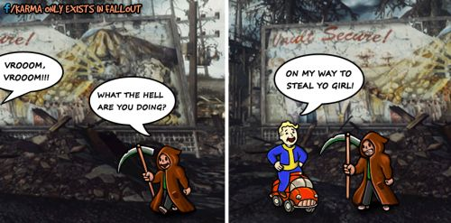 My Fallout Comics (3)  Just some silly drawings. If you like them follow my blog here on Tumblr or like my Karma Only Exists in Fallout page on Facebook. Cheers! :)  fallout fallout comics fallout art fallout drawings vault boy