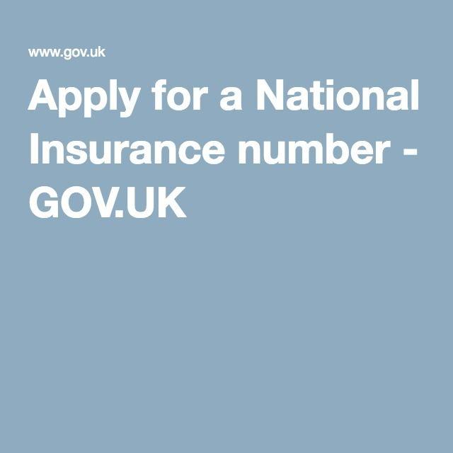 Apply for a National Insurance number - GOV.UK