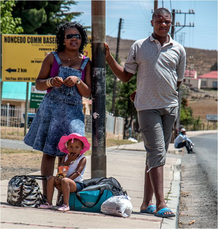 Jamestown Eastern Cape. Family traveling by bus to December holiday destination.