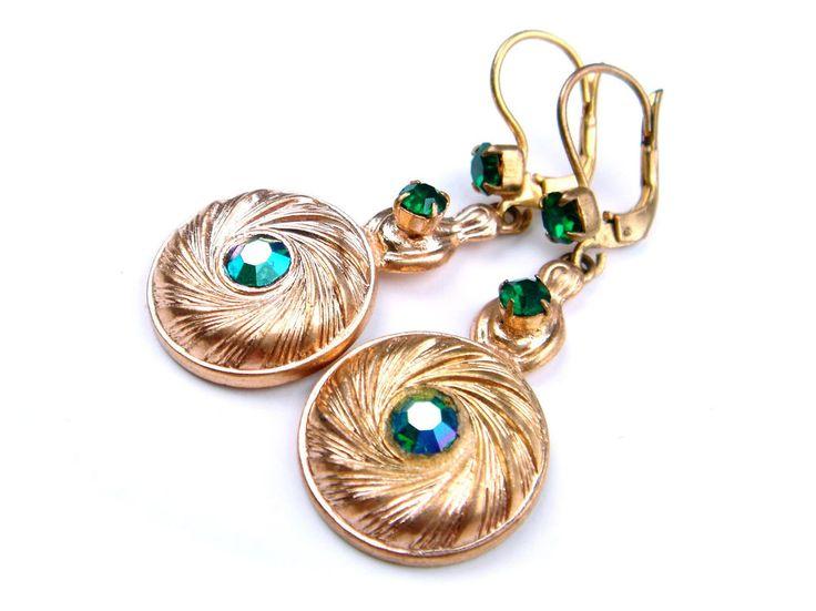 Vintage Art Nouveau Deco Czech Glass Earrings Dangle Drop Emerald Green Gold #ArtNouveauArtDeco